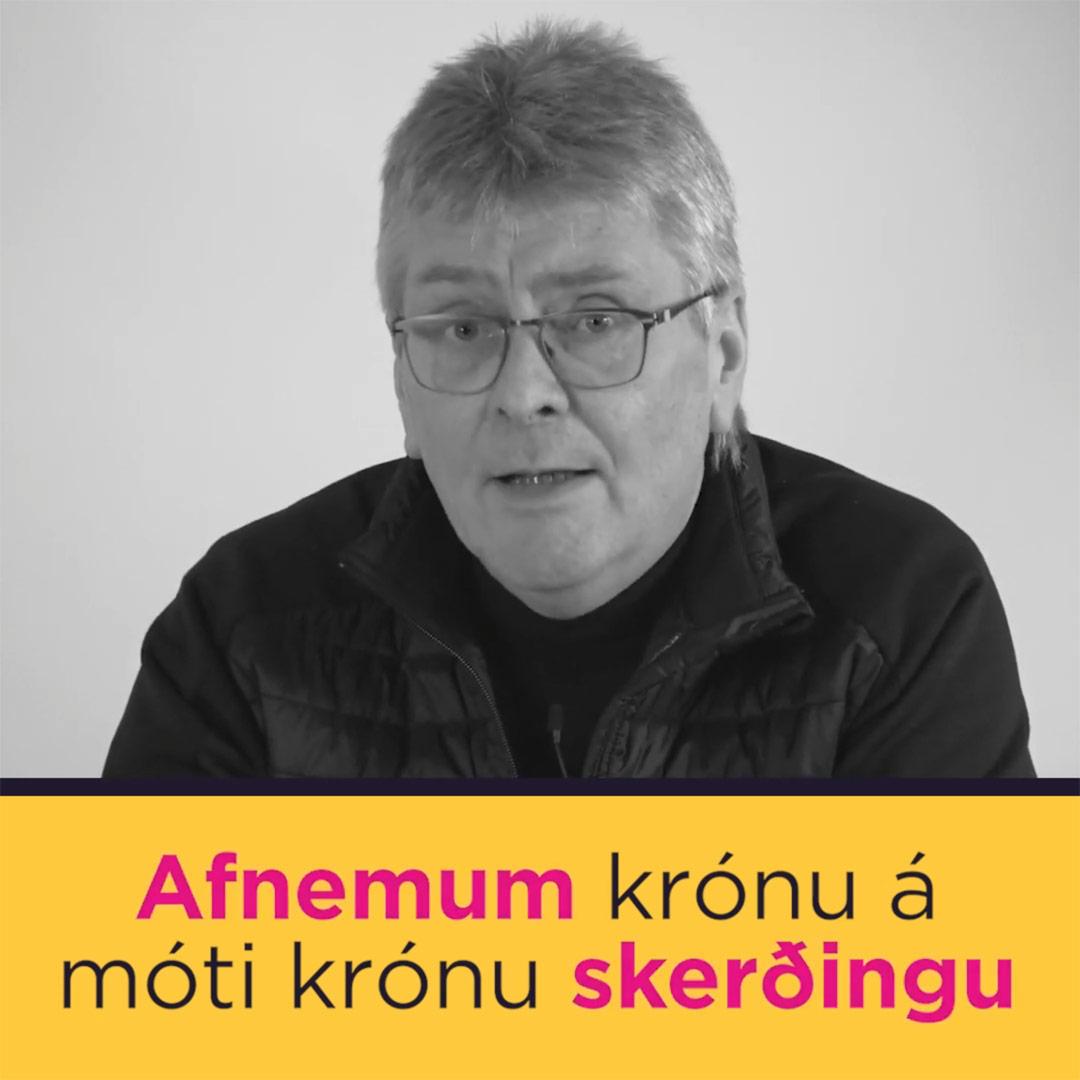 Afnemum krónu á móti skerðingu